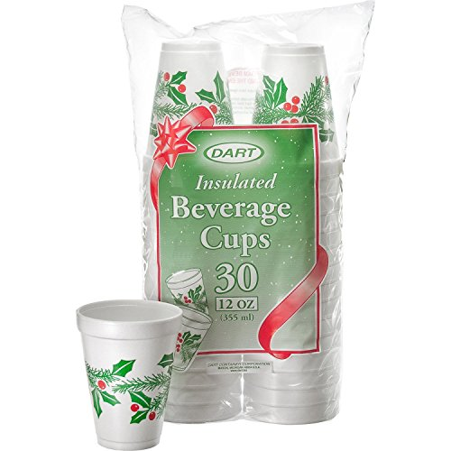 (DART 12J30X Holiday Printed Cups, White Insulated Foam Cup, 3.5