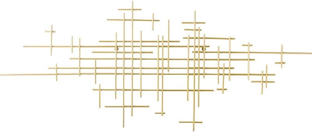 QINQIWD Arte Abstracto de Metal para Colgar en La Pared, Cruz de Hierro Forjado Tridimensional Patrones Geométricos Decoración de La Pared, para Sala de Estar, Oficina, Pared, Escultura