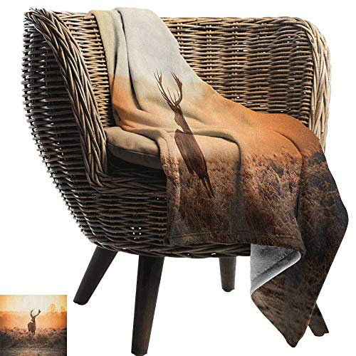 AndyTours Fuzzy Blanket,Hunting,Red Deer in The Morning Sun Wilderness Nature Scenery Countryside Rural Heathers, Brown Orange,Luxury Flannel Throw Blankets for Bed(Lightweight,Super Soft) 50