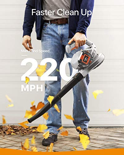 Anker Roav 36V Cordless Leaf Blower, 220 MPH Max Speed, Lock Switch, 3.0 AH Battery and Charger Included