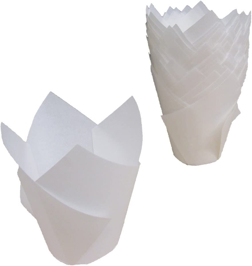Premium Disposables 200 White Tulip Style Baking Cups Cupcake Liners Wrappers, Oven Safe Parchment Baking Liners. Large Size 2 3/4-4 Inches.
