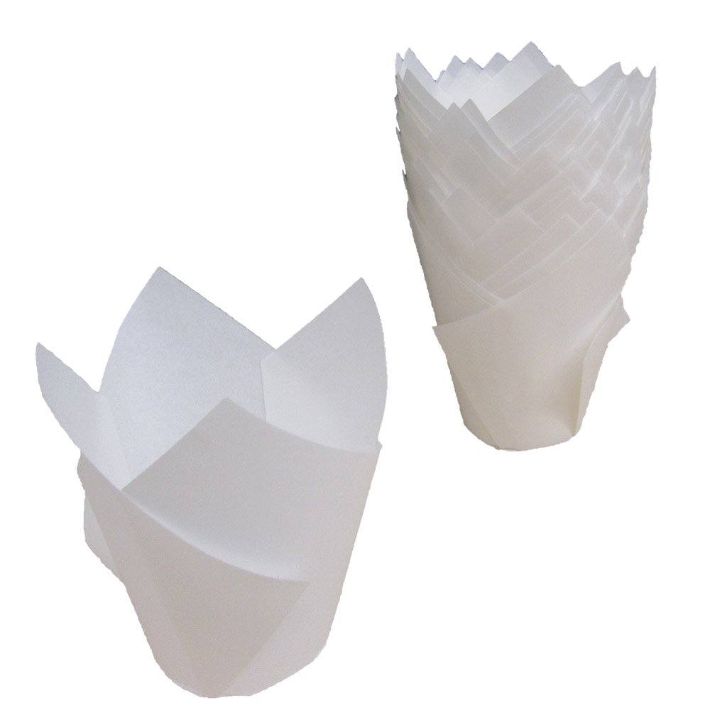 Premium Disposables 200 White Tulip Style Baking Cups Cupcake Liners Wrappers, Oven Safe Parchment Baking Liners. Large Size 2 3/4-4 Inches. by Premium Disposables
