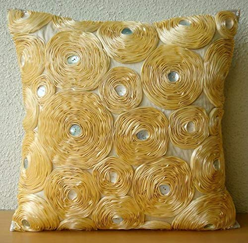 The HomeCentric Luxury Gold Euro Pillow Covers, 26