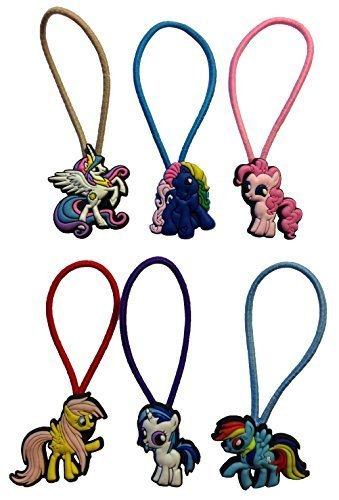 [Little Pony Colorful Hairband Ponytail Holder 6 Pcs Set #1 by Atlantis USA] (Disney Tinker Bell Kids Sparkle Shoes)