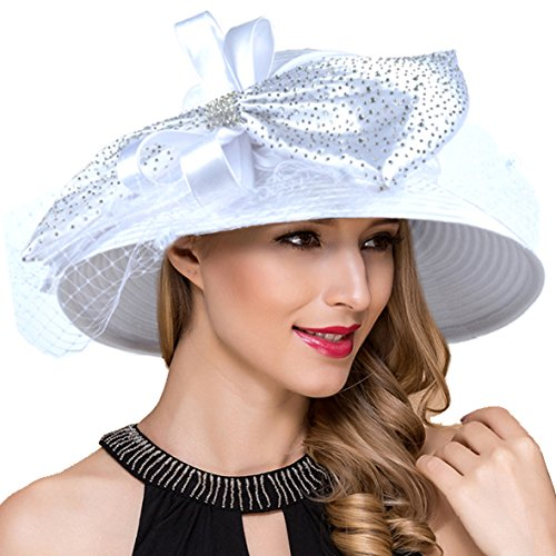 Women Kentucky Derby Church Dress Cloche Hat Fascinator Floral Tea Party Wedding Bucket Hat S052 (SD706-White)