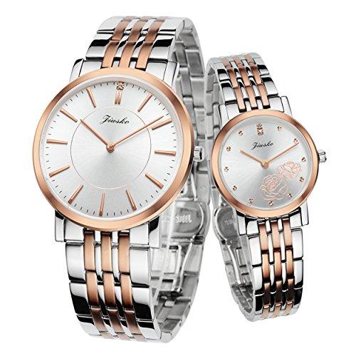 Jiusko His & Hers Couple Wrist Watches Gift Set - Swiss Movement - Real Diamond - Sapphire - Two Tone