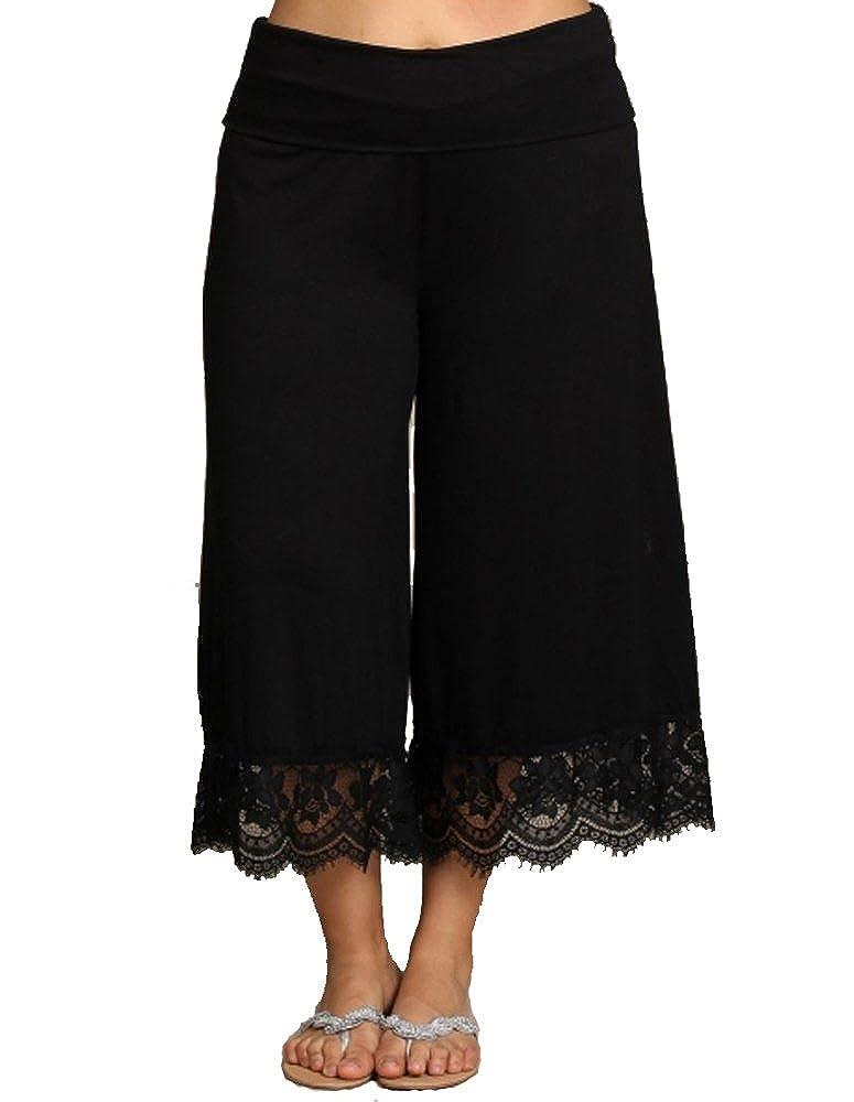 curvyluv.com Women's Plus Size Cropped Capri Palazzo Pants Gaucho Fold Waist Lace Trim CT30156