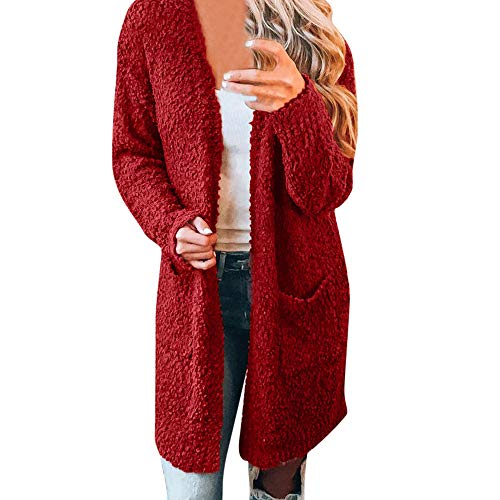 iFOMO Womens Autumn Winter Solid Loose Casual Plush Midi Cardigan Sweater Coat with Big Wool Pockets(Red,XL)