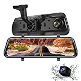 Mirror Dash Cam Dual Dash Cam 9.66' FHD Touch Screen Backup Camera for Car Stream Media Dual Len 170°1080P Front+150°1296P Rear View Dashcam WDR Night Version Loop Recording G-Sensor Parking Monitor