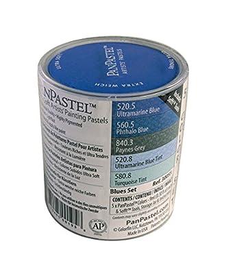 PanPastel 9-Milliliter Ultra Soft Artist Pastel Set, Blues, 5-Pack