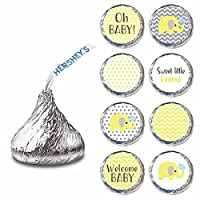 Yellow Gray Elephant Label for HERSHEY'S KISSES® chocolates - Baby Shower Candy Sticker - Set of 240