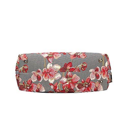 Borsa Signare a spalla convertibile in tessuto stile arazzo alla moda Orchidea