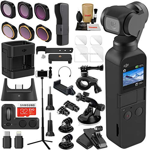 DJI OSMO Pocket 3 Axis Gimbal Camera and Expansion Kit Combo Bundle with ND & Rotating Polarizer Filter Set, Extension Rod/Selfie Stick, Tripod & Must Have ()