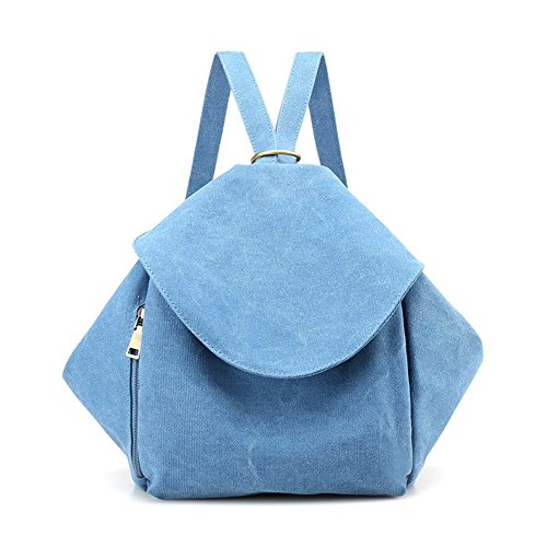 Meaeo Bolsa De Lona Mochila Mochila Pequeña Bolsa De Viaje Elegante Minimalista De Color Caqui Blue