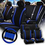FH GROUP Stylish Cloth Full Set Car Seat Covers (Airbag & Split Ready) Combo-FH2033 Steering Wheel & Seat Belt Pads - Dark Blue BlackColor- Fit Most Car - Truck - Suv - or Van