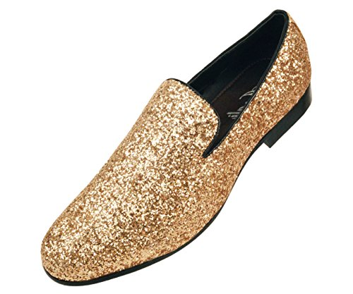Amali Mens Metallic Gold Sparkling Glitter Tuxedo Slip On Dress Shoe: Style Barnes-035 (Mens Dress Up Outfits)