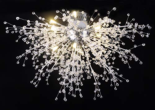 GDNS Chandeliers Hand Made Firework LED Light Stainless Steel Crystal Pendant Lighting Ceiling Light Fixtures Chandeliers,Dia 27.5 inch