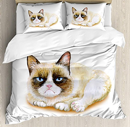 Animal 4 Piece Bedding Set King Size, Grumpy Siamese Cat Angry Paws Asian Kitten Moody Feline Fluffy Love Art Print, Duvet Cover Set Quilt Bedspread for Childrens/Kids/Teens/Adults, Brown and Beige
