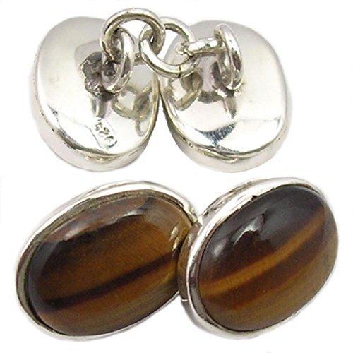 Boutons de manchette œil de tigre en argent massif 925 - Taille des pierres 8x12mm