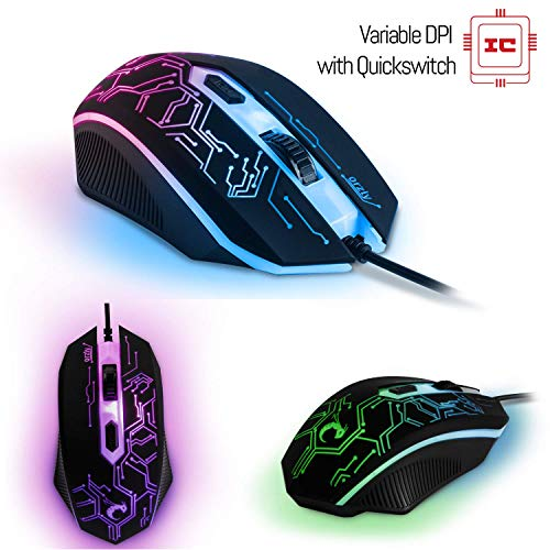 Gaming Keyboard and Mouse and Mouse pad and Gaming Headset, Wired LED RGB Backlight Bundle for PC Gamers and Xbox and PS4 Users - 4 in 1 Gift Box Edition Hornet RX-250 6
