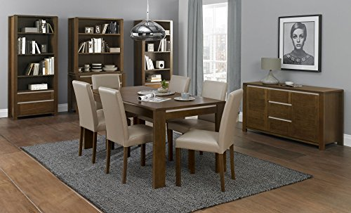 "Coastlink Osaka Walnut Extension Dining Set For 6 - 66"" Table and Bonded Leather Chairs"