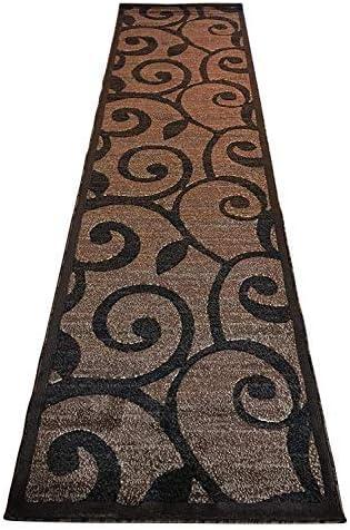Modern Long Runner Area Rug Brown & Black Carpet King Americana Design 154 (32 Inch X 10 Feet)