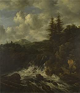 The polyster Canvas of oil painting 'Jacob van Ruisdael A Landscape with a Waterfall and a Castle on a Hill ' ,size: 20 x 23 inch / 51 x 59 cm ,this High Resolution Art Decorative Canvas Prints is fit for Powder Room decor and Home gallery art and Gifts