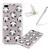 Glitter Case for iPhone 7 Plus,Crystal TPU Cover for iPhone 8 Plus,Herzzer Ultra Slim Creative [Funny Panda Pattern] Bling Sparkly IMD Design Shock-Absorbing Soft Silicone Gel Bumper Cover Flexible TPU Transparent Skin Protective Case