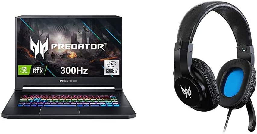 """Acer Predator Triton 500 PT515-52-73L3 Gaming Laptop, Intel i7-10750H, NVIDIA GeForce RTX 2070 Super, 15.6"""" FHD NVIDIA G-SYNC Display, 300Hz, 16GB Dual-Channel DDR4 with Gaming Headset"""