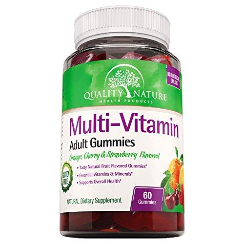 Daily Multi - Gummy Vitamins for Women & Men - Quality Nature's Kosher Multivitamin Gummies - Contains Essential Minerals & Vitamins A, C, D, E, B-6, Vitamin B-12, Folic Acid, Biotin & Zinc.