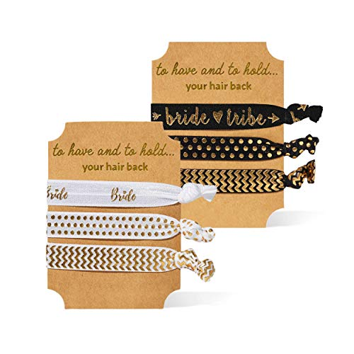 Bride and Bride Tribe Bachelorette Party Hair Ties (11 Piece Set) - Black & Gold
