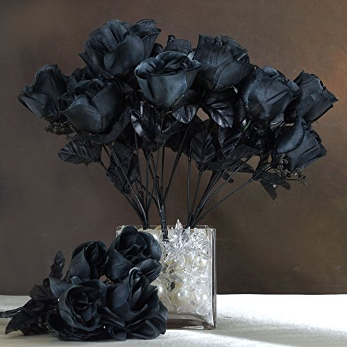 Efavormart 84 Artificial Buds Roses Wedding Flowers Bouquets SALE - (Black Rose Flower)
