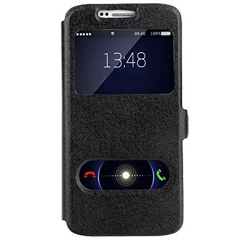Bingsale Flip Cover Case Samsung Galaxy S6 Hülle Schutzhülle (Samsung Galaxy S6, Schwarz)