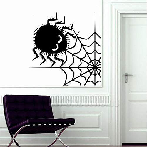 Vinyl Decal Quote Art Wall Sticker Mirror Decal Spider Net Cute Spinner Wall Sticker Decal S for Halloween Holiday Festival Decor]()