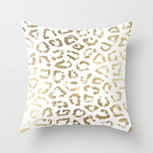 (Nextchange Modern White Chic Faux Gold Foil Leopard Print Cotton Pillowcase Comfortable Decoration for Sofa Bed Chair Car (Two Sides) Pillow Cover Size 22x22 in)