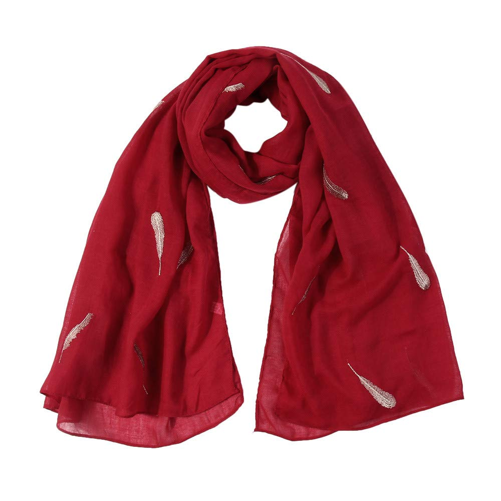 Lovewe Women Feather Embroidered Scarf,Soft Shawl,Long Scarf (Red)