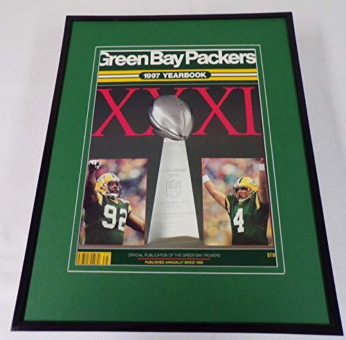 Reggie White Brett Favre 11x14 Framed ORIGINAL 1997 Packers Yearbook Cover