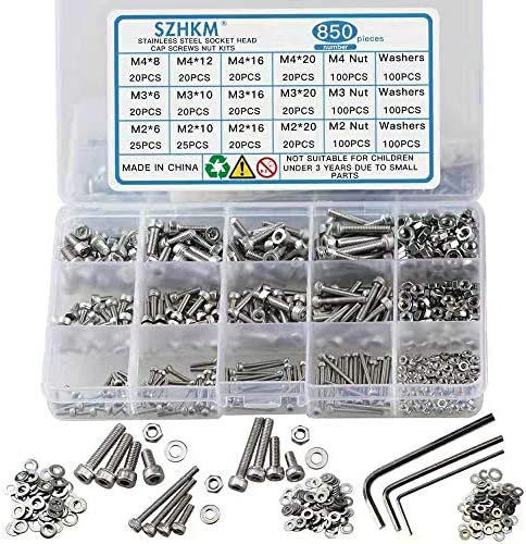 Screws and Nuts 1440PCS 304 Stainless Steel M2 M3 M4 Hex Socket Head Cap Flat Washers Spring Washers Assortment Kit with 3 Wrenches for Automotive Furniture Decoration Electrical Industrial Products