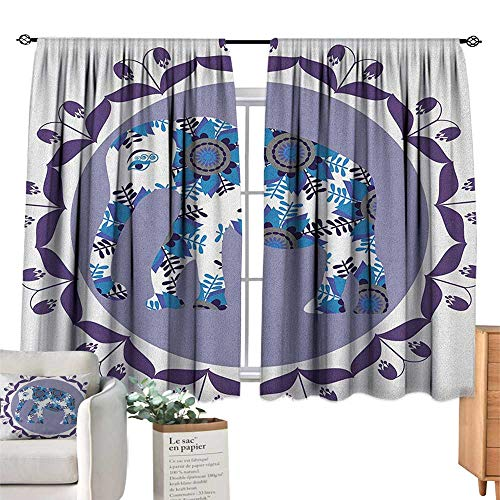EthnicSolid Rod Pocket short Blackout DrapesOrnate Elephant Figure In Medallion Pattern With Tulip Flowers Eastern ArtworkDarkening Thermal Insulated Grommet Window Blackout Lilac Blue White. W55
