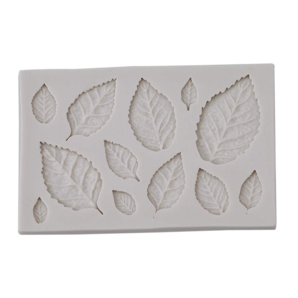 Flybloom DIY Blätter Form Silikonformen Schokolade Fondant Sugarcraft Plätzchenform Kuchen Dekor Backen Werkzeuge, Weiß Weiß HeShengFactory