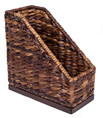 BIRDROCK HOME Seagrass Butler Magazine Holder | Hand Woven | Upright Organizer | Paper | Dark Natural | Stylish Decorative Design | File Holder