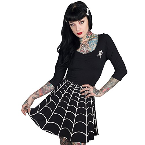 Women's White Spiderweb On Black Skater Dress Kreepsville Gothic Horror Fashion (X-Large) (Horror Dress)