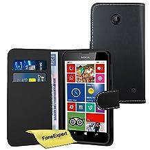 Nokia Lumia 635 Case, FoneExpert® Premium Leather Flip Wallet Book Case Cover For Nokia Lumia 635 + Screen Protector & Cloth (Black)