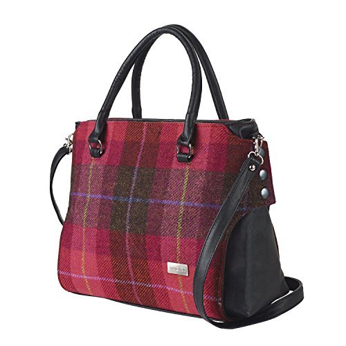 - Mucros Weavers Women's Handbag - Emily Style - Wool and Leather Made in Ireland (Scarlet & Pink Plaid)
