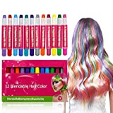 Hair Chalk ,Hair Chalk Pens,Temporary Hair Chalk Set, For Halloween Christmas party, Temporary Color, 12 Colorful Hair Chalk Pens Edge Chalkers,Works on All Hair Colors