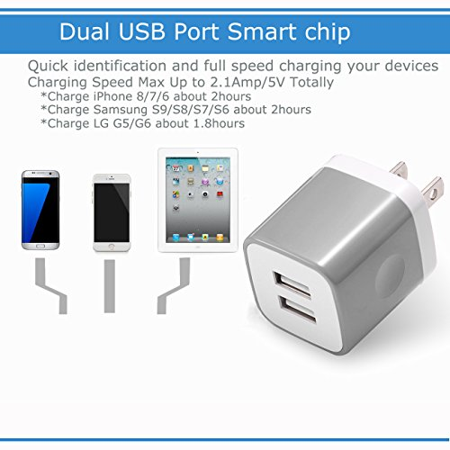 USB Wall Charger 3-Pack, WITPRO 2.1A/5V Smart Dual Port USB Plug Power Adapter Charging Block for iPhone X/8/7/6S Plus SE/5C, Samsung, HTC, LG, Huawei, Moto G Z, More (Grey) by WITPRO (Image #2)