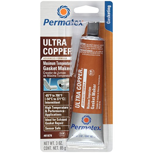 Permatex 81878  Ultra Copper Maximum Temperature RTV Silicone Gasket Maker, 3 oz. Tube (Truck Plastic Seal)