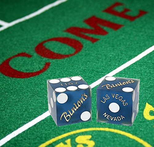 Cyber-Deals Craps Bundle Set: Las Vegas Style Felt Layout + 19mm Authentic Binion's Casino Table-Played Dice (Blue)