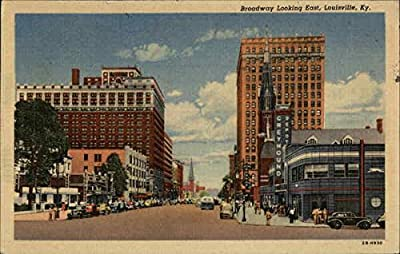Broadway Looking East Louisville, Kentucky Original Vintage Postcard
