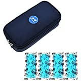 Portable Insulin Cooler Bag,luckybuy Diabetic Organizer - Insulin Cooler Travel Case Keep Diabetics Insulated and Cool,Upgraded with 4 Ice Packs and Temperature Read Function (Navy Blue)